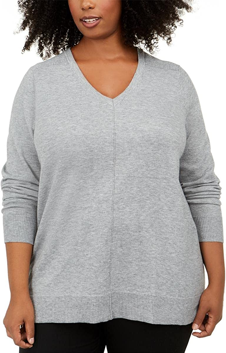 Karen Scott Womens Plus Ribbed Trim V-Neck Sweater Gray 1X