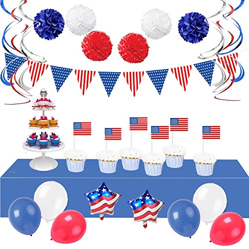LifeMadeSimple Patriotic American Flag Decorations Set with 34 Red White and Blue Decorations for an Impressive Indoor or Outdoor Party Decor