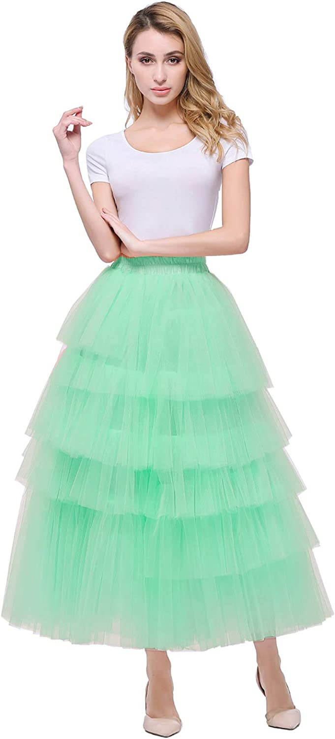 Heypen Women Tulle Maxi Skirt Tiered Layered Mesh Ballet Prom Party Tulle A-Line Midi Skirt