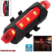 OcioDual Linterna 5 LED Rojos Parte Trasera de Bicicleta con Batería Recargable USB Impermeable Luz Roja para Seguridad Posición