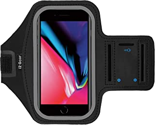 i2 Gear Cell Phone Armband Compatible with iPhone 8 7 6 6S - Phone Holder for Running with Adjustable Band, Reflective Edge, Touch Screen Protection and Key Holder