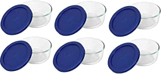 Pyrex Storage 2-Cup Round Dish, Clear with Blue Lid Case of 6 Containers