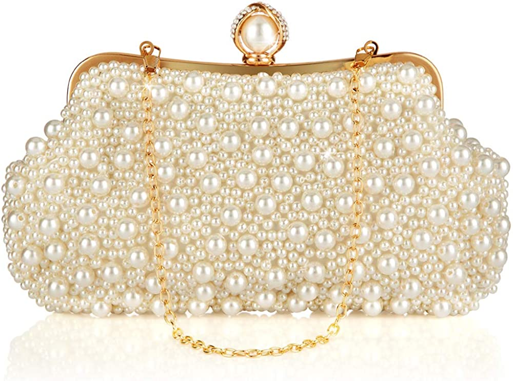Different Length Chain Crossbody Shoulder Bag Handbag for Party Date Formal Occasion Pearl Clutch Womens Wedding Purse