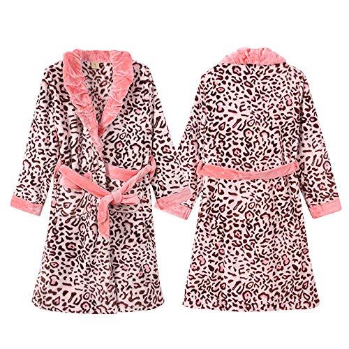 OLLIUGE Pyjamas Für Damen Damen Luxus Fleece Morgenmantel Warm Weichen Leoparden Print Robe Sexy Sling Kurzen Rock Zweiteilige Nachtwäsche Bademantel,Leopardprint-M