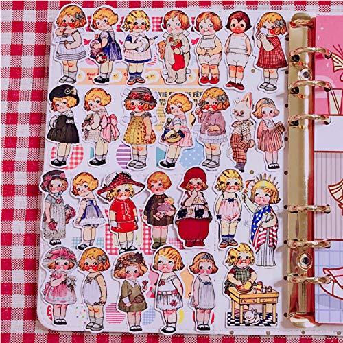 ZFHH 34pcs Retro dolly sticker DIY scrapbook album mobile phone computer diary primer collage decoration sticker