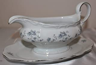 Johann Haviland Bavaria Germany Blue Garland Gravy Boat w/ Attached Underplate -- Haviland Classic -- White Bone Porcelain with Floral Blue Garland and Trimmed in Platinum