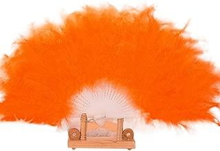 Holzkary Chinese Style Vintage Folding Hand Held Fan/Paper Fan/Feather Fan/Sandalwood Fan/Bamboo Fans for Wedding, Party, Dancing(26cm.Orange)
