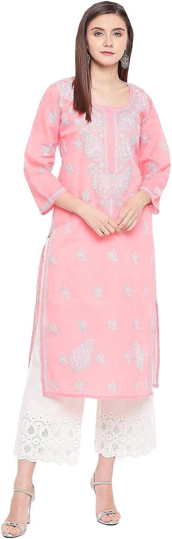 Ada Indian Hand Embroidered Chikankari Straight Kurta Cotton Colorado Springs Mall Kur NEW before selling ☆