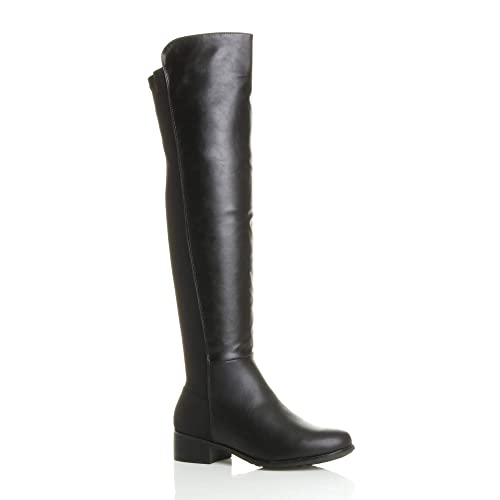 f5250a82397 Ajvani Womens ladies high over the knee elastic curvy stretch pull on low  heel boots