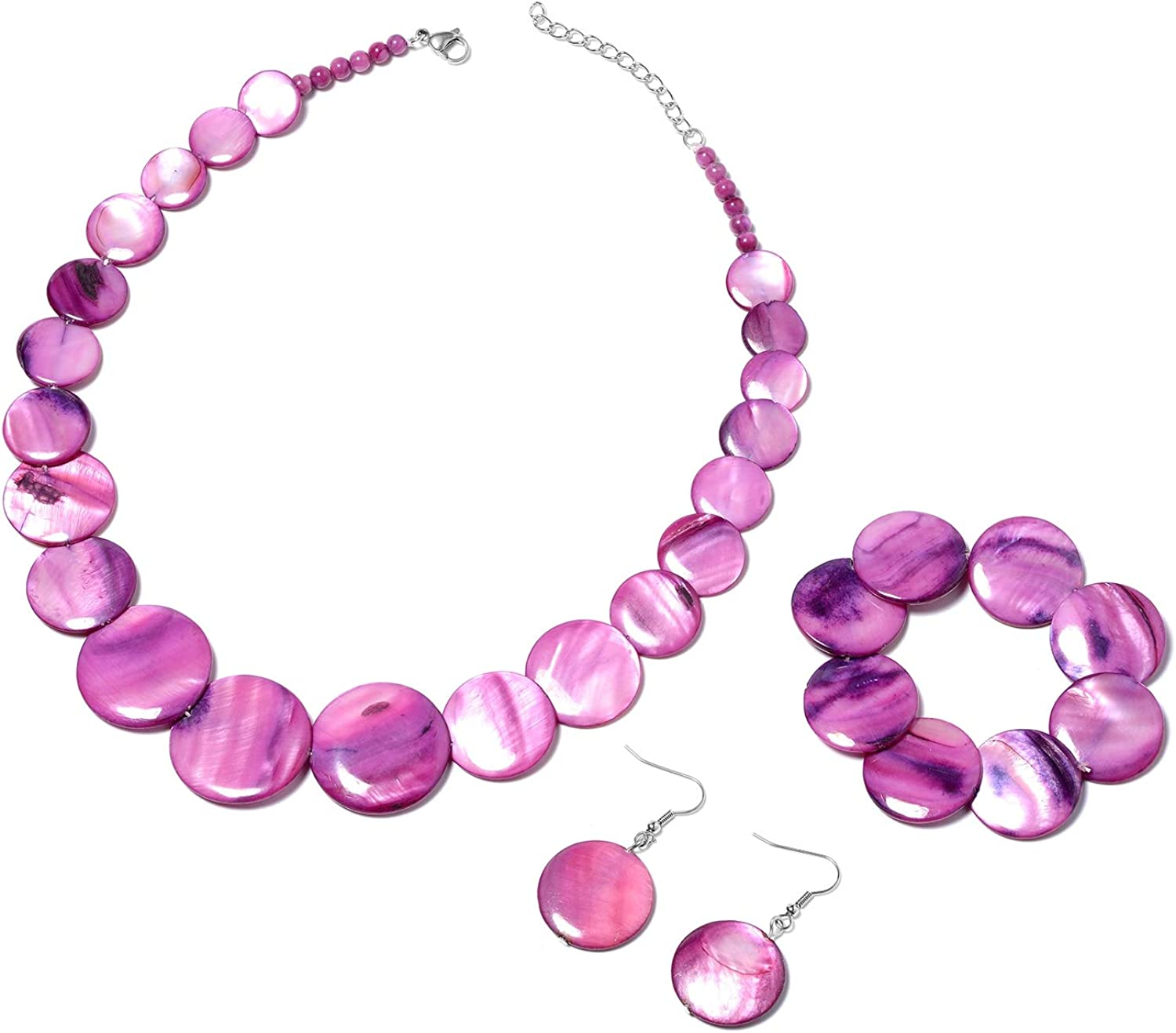 Shop LC Stainless Steel Purple Shell Bracelet Stretchable Dangle Drop Earrings Necklace Costume Stylish Fashion Jewelry Sets Unique Gifts for Women 20