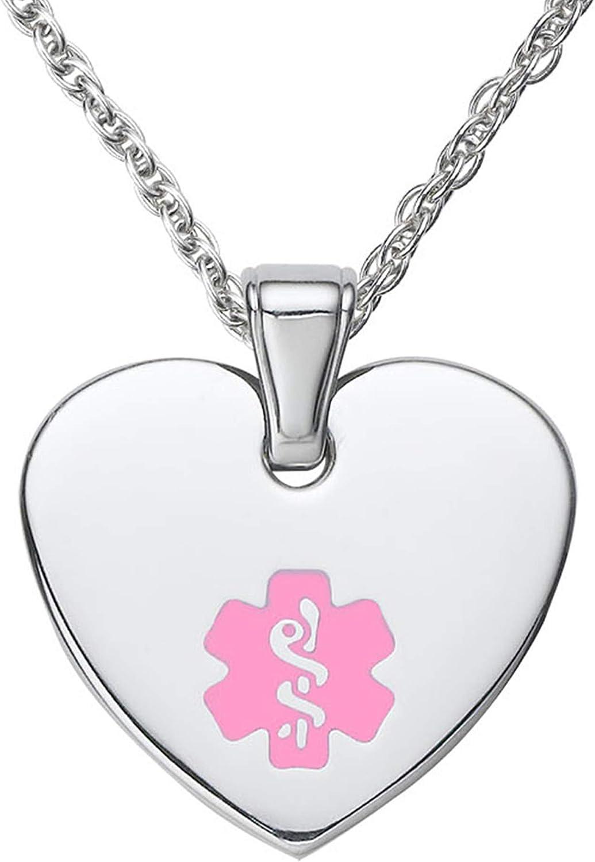Divoti Deep Custom Laser Engraved Stainless Steel Medical Alert Necklace for Women, Heart Tag Medical ID Necklace, Medical Pendant Tag w/Free Engraving -24/28