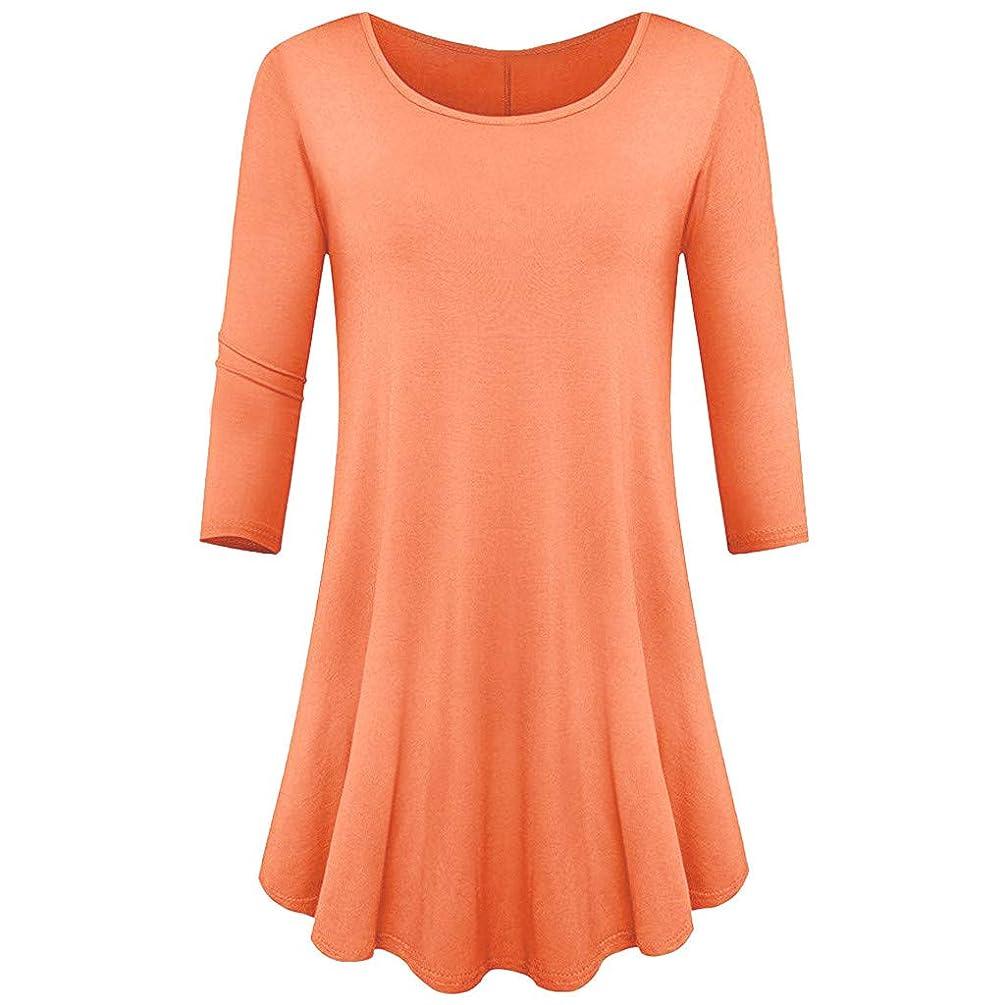 HAALIFE??Womens 3/4 Sleeve Loose Fit Swing Tunic Tops Basic T Shirt