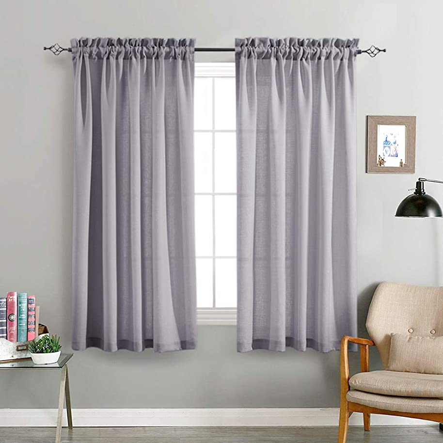 Grey Sheer Curtains for Living Room 63 Inches Length Casual Weave Textured Semi Sheer Privacy Window Treatment Set of 2 Curtain Panels for Bedroom