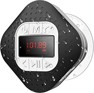 Waterproof Bluetooth Shower Speaker Radio with LED Screen, AGPTEK Portable Wireless Speaker with Redial Last Call and Hand...