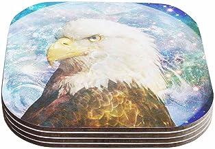 """قاعدة أطباق تصميم سوزان كارتر """"سبيس كاديت 2"""" باللونين الأسود والأزرق (مجموعة من 4 قطع) من كيس إنهاوس، 10.16 سم × 10.16 سم،..."""