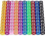 100 Pezzi Dadi da Gioco 6Facce,Gioco di Dadi 10 dadi di colore diverso Adatto per insegnam...