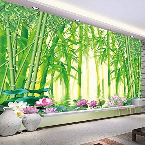 Papel pintado mural adhesivo de pared Papel tapiz 3D moderno clásico verde bosque de bambú paisaje foto pared Mural papel tapiz sala de estar TV sofá telón de fondo decoración de pared Mural