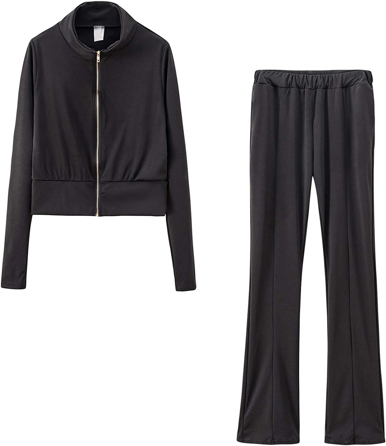 Nippon regular agency Women Fashion Jacksonville Mall Zipper Solid Color Sweat and Tracks Top Shirt Pant