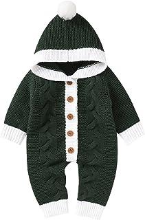 طفل الوليد الفتيات الفتيان القطن عيد الميلاد عيد الميلاد محبوك مقنع سترة رومبير بذلة ملابس مجموعة (Color : Green, Size : 3M)