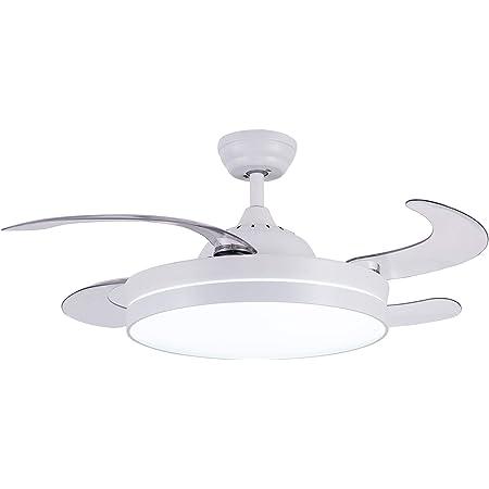 CJOY Ventilateur de plafond avec lumière dimmable, ventilateur de plafond avec éclairage LED dimmable et télécommande Blanc 42 pouces AC 220V 50 / 60HZ Silencieux 4 pales de ventilateur en ABS