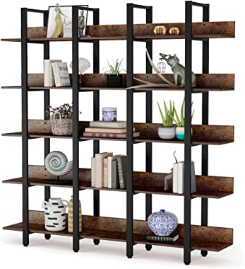 Tribesigns Rustic Triple Wide 5-Tiers Open Bookcase, Vintage Industrial Large 5 Shelf Bookshelf Furniture, Etagere Bookcases with Back Fence for Home Office Decor Display (Retro Brown)