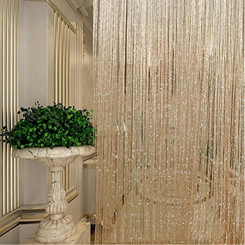 Cortinas con forma de anillo, color plateado, con borlas y bandas de hilo, para separar ambientes, puertas y ventanas, dorado, 200cm*100 cm