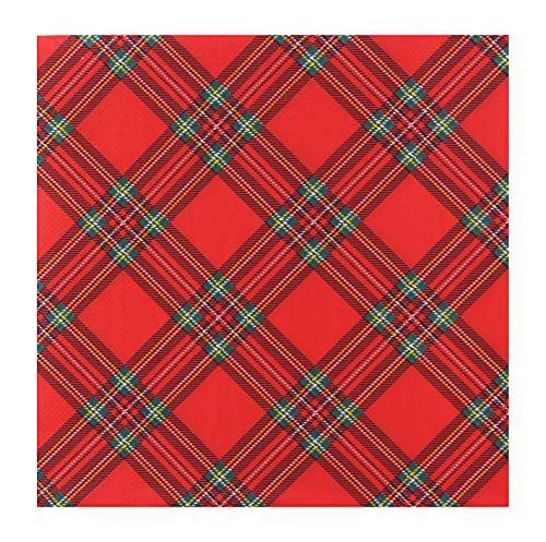 finemark 100 servilletas de papel Scotland de 40 x 40 cm, a cuadros, color rojo y verde, servilletas de 3 capas, decoración de mesa