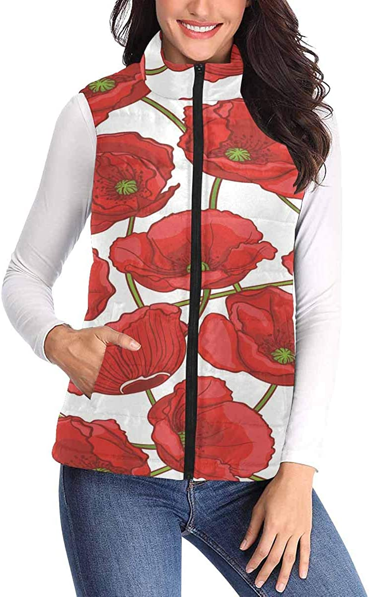 InterestPrint Lightweight Padded Vest Made of Matte Cloth 310T and Cotton Natural Pattern with Red Poppies