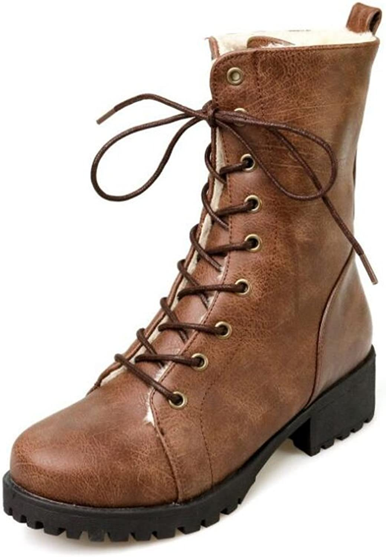 CHFSO Women's Trendy Faux Fur Lined WaterproofLace Up Mid Calf Mid Heel Platform Warm Winter Martin Boots
