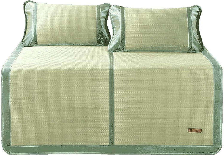 Summer Sleeping Mat - Natural Woven Mats, 1.5 1.8m Bed Folding Three-Piece, Summer Straw Mat (Size   1.8m (6ft) Bed)