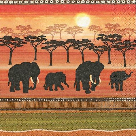 20 Servietten African Spirit – Afrikanischer Geist/Afrika/Elefanten 33x33cm