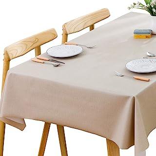 Plenmor Mantel de vinilo pesado para mesa rectangular de PVC fácil de limpiar, resistente al aceite, resistente a las manchas, al moho, 137 x 275 cm, color beige.
