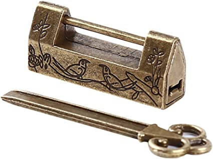 Chinese alt antikes altes Passwort Messing Stil Schloss Lock//Key WH