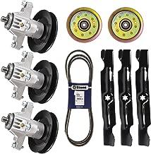 8TEN 50 Inch Deck Spindle Belt Idler OEM Blade Kit Combo Set for Cub Cadet RZT50KH RZT50KW Mower 918-04125B 942-04053C