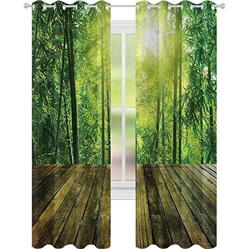 Cortina opaca para ventana, tablero de madera tropical, sol del bosque, 52 x 84, cortinas de oscurecimiento para sala de estar