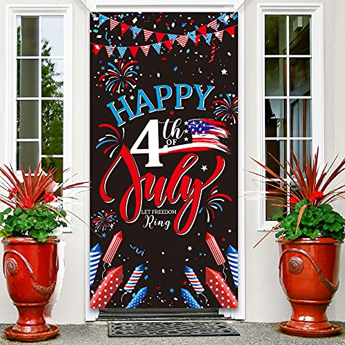4th of July PartyDoor Cover BackdropBannerDecoration,FabricPatrioticSignBannerBackdropBackgroundfor Patriotic Independence Day Theme Deployment Greeting Military Army Party Decorations