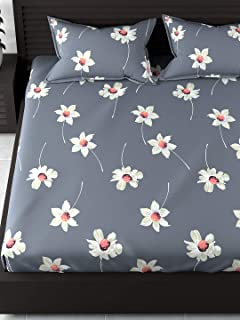 Dream Weaverz 5D Print 260 TC Cotton Double Bedsheet with 2 Pillow Covers - Floral, King Size, Grey
