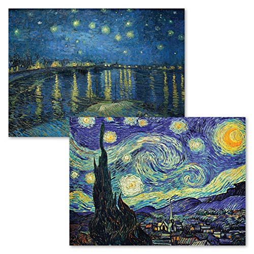 2 Pack - The Starry Night 1889 & Starry Night Over The Rhone by