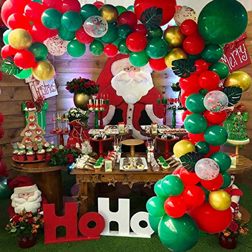 CONLEKE Christmas Balloon Garland Arch kit 125pcs with Christmas Red Gold Dark Green Balloons and Leaves for Christmas Party Decorations