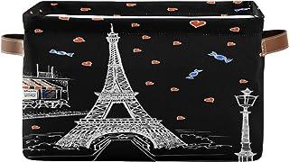 Lot de 2 paniers de rangement ALARGE pour la Saint Valentin Paris Tour Eiffel Coeur Panier à linge Pliable Organiseur Joue...