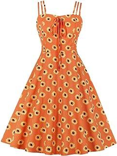 FYMNSI Damen Sommer Kleid Trägerkleid Vintage Gepunktet Blumendruck Casual Plissee Midikleid Rockabilly Schwingen Cocktail Faltenrock A-Linie Partykleid Strandkleid