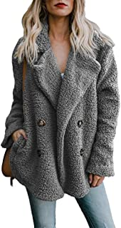 BOZEVON Womens Fleece Coat - Autumn Winter Warm Open Front Collar Coat Oversize Solid Color Casual Fleece Cardigan Jacket Outerwear