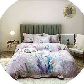 HANBINGPO 600TC Tencel Summer Bedding Gray Marbe Tropical Floral Leaves Retro Duvet Cover Bed Sheet Pillow Shams Queen King Size 4Pieces,Color 3,Queen Size 4pieces,Flat Bed Sheet