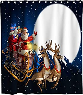 Merry Christmas Shower Curtains Holiday Moon Night Santa Claus Reindeer Sleigh Theme Cloth Fabric Bathroom Decor Sets with Hooks Waterproof Washable 70 x 70 inches White Blue and Red