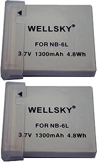 WELLSKY NB-6L NB-6LH [ 2個セット ] 互換バッテリー [ 純正充電器で充電可能 残量表示可能 純正品と同じよう使用可能 ] Canon キヤノン PowerShot SX510 HS / PowerShot SX170 IS / IXY 30S / PowerShot S95 / IXY 31S / IXY 32S / PowerShot SX260 HS PowerShot D20 / PowerShot SX280 HS / PowerShot S120 / PowerShot S200 / PowerShot SX530 HS / PowerShot SX710 HS / PowerShot SX610 HS