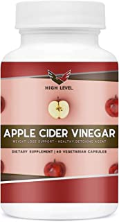High Level 100% Natural Apple Cider Vinegar Capsules | 60 Veggie Capsules | Pure 1300mg for Healthy Weight Loss + Detox Cleanse | Extra Strength | Digestion Support | Easy to Swallow
