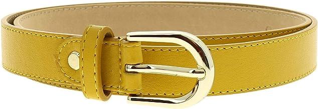 FASHIONGEN - Women genuine Italian leather belt with golden Buckle, HACENA