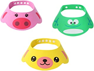 SUNTRADE Adjustable Visor Cartoon Shampoo Shower Bathing Protection Cap for Toddler, Baby, Kids, Children, Set of 3