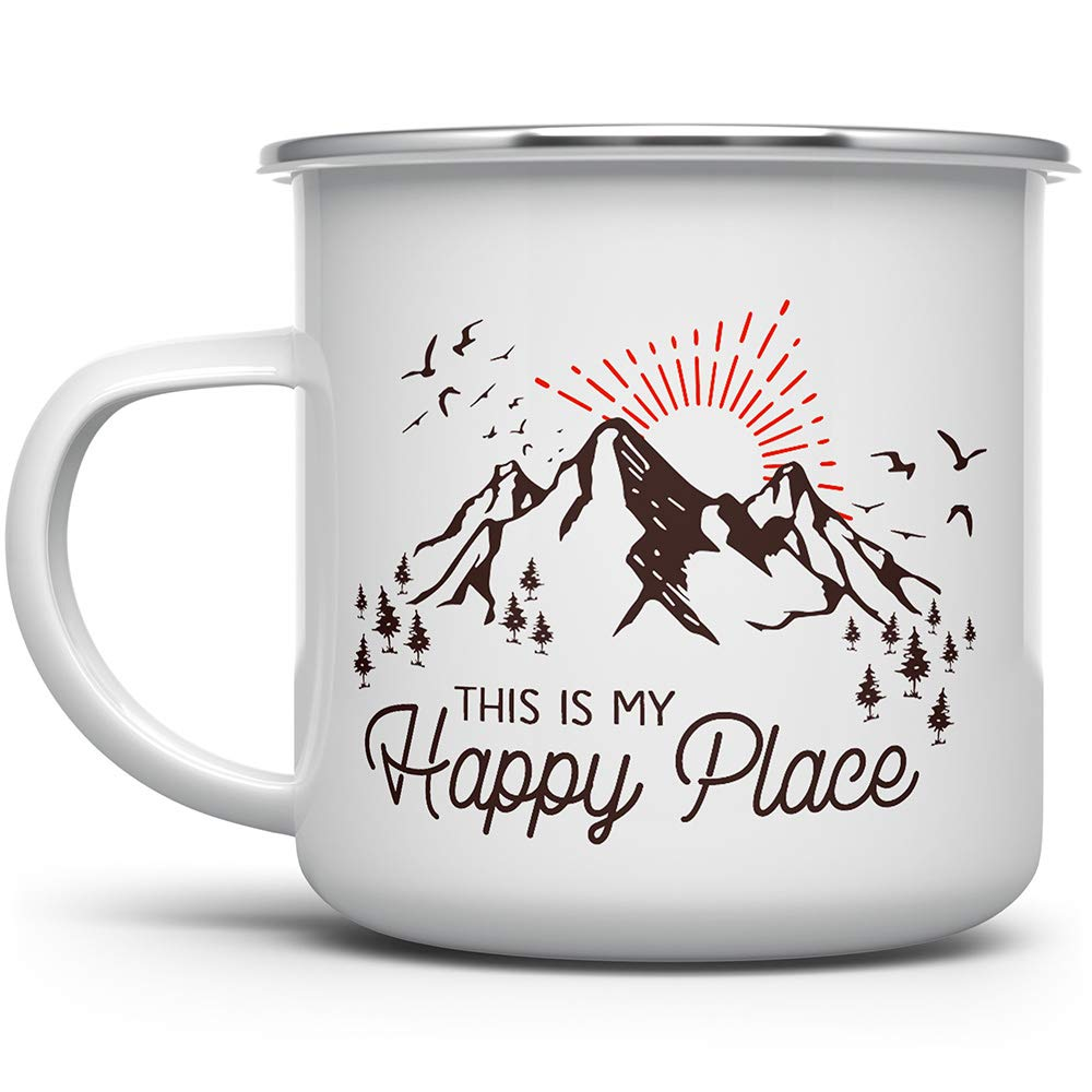 This is My Happy Place Enamel Special Campaign Cof Mountain Max 60% OFF Campfire Mug Camping