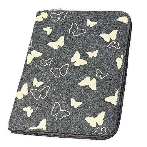 Mom's Organizer 'Schmetterlinge' mit rundum Reißverschluss aus Filz für Mutterpass & U-Heft mittelgrau/pastellgelb (Farbe wählbar) | Hülle in A5 als Uheft- und Mutterpasshülle (2in1)